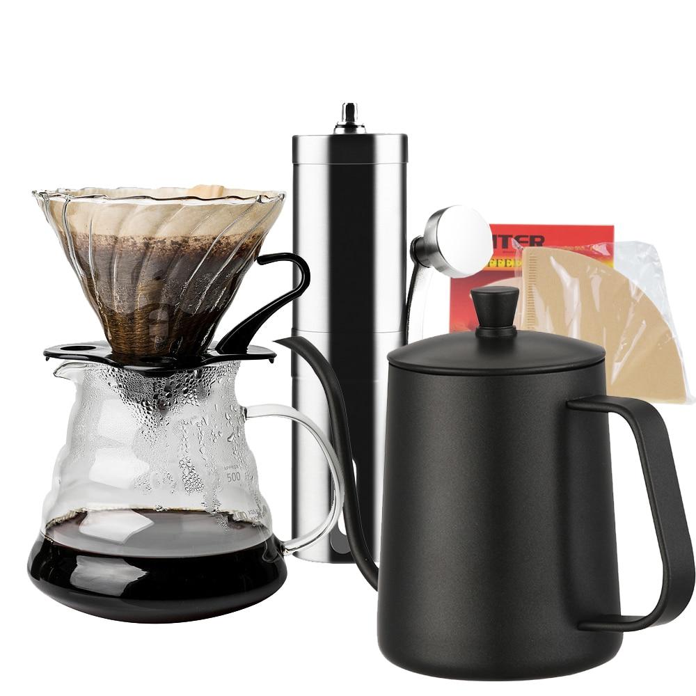 Nouveau ecocafe nouveauté livraison gratuite écologique V60 ensembles d'égouttement 580ml résistant à la chaleur café serveur bouilloire filtres offre spéciale