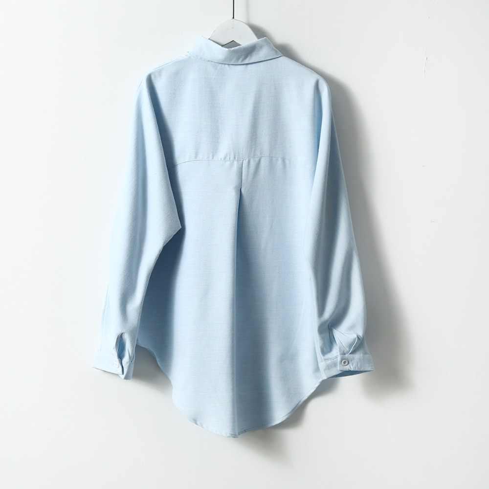 2021 bahar kadın yaz bluz kore uzun kollu bayan üstleri ve bluzlar Vintage kadınlar gömlek Blusas Roupa Feminina Tops