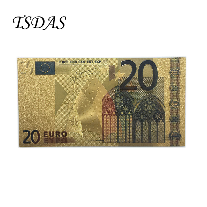 Value Collectible Rare Colorful <font><b>20</b></font> <font><b>Euro</b></font> Pure 24K Gold <font><b>Banknote</b></font>, Golden <font><b>Euro</b></font> Currency For Gifts image