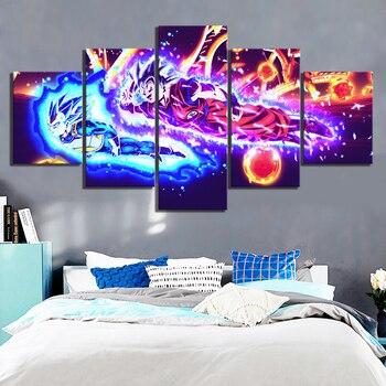 Lienzo de 5 piezas de animación Goku de Dragon Ball, pintura de pared, decoración del hogar para la sala de estar, póster de Bola de Dragón, póster decorativo