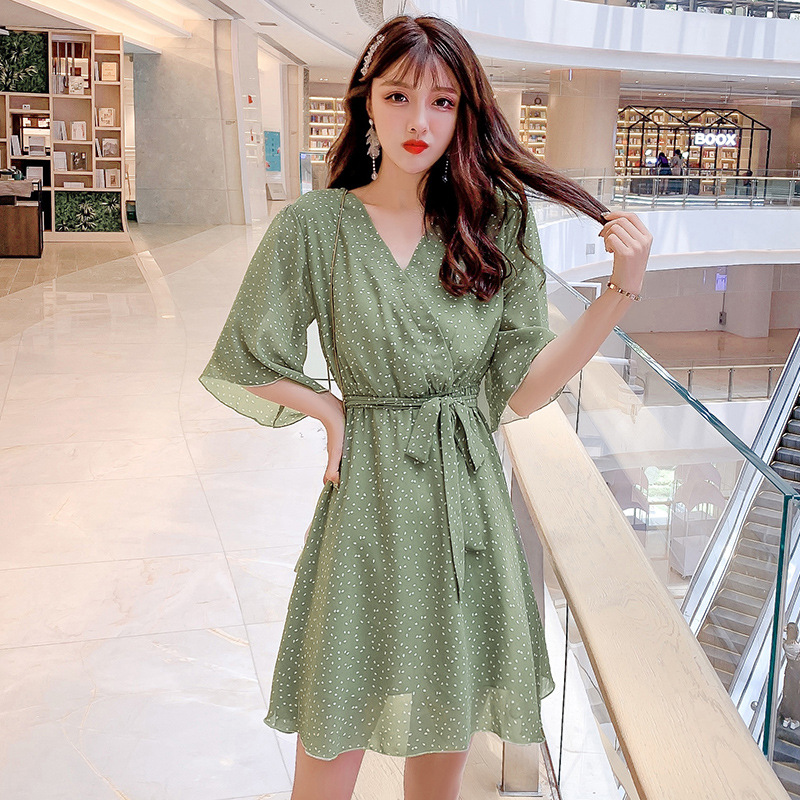 2019 Summer New Style Korean-style V-neck Waist Hugging Lace-up Polka Dot Chiffon Dress Women's Hipster Platycodon Grandiflorum