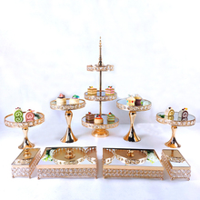 gold plating Cake Stand Set Crystal Metal mirror Cupcake stand decorations Dessert Pedestal Party Display cake tray