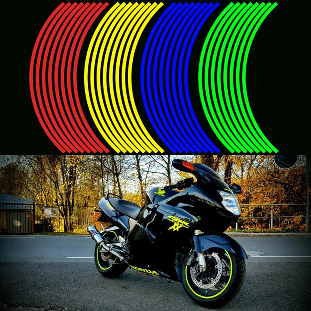 16 Pieces Universal Waterproof Motorcycle Wheel Rim Reflective Stickers Moto