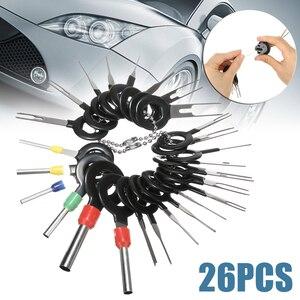 Image 1 - 26 adet Paslanmaz Çelik Araba Terminali Temizleme Aracı kablo konnektörü Çıkarıcı Serbest Bırakma Pimi onarım aletleri seti