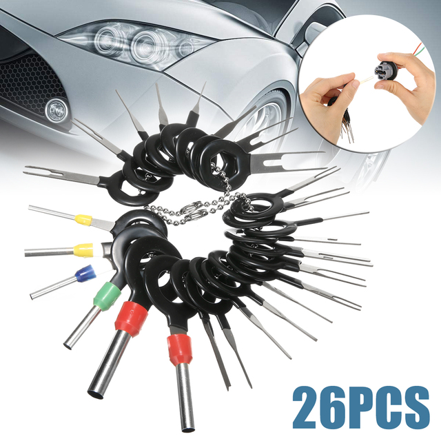 26pcs Stainless Steel Car Terminal Removal Tool Wiring Connector Extractor Release Pin Repair Tools Kit