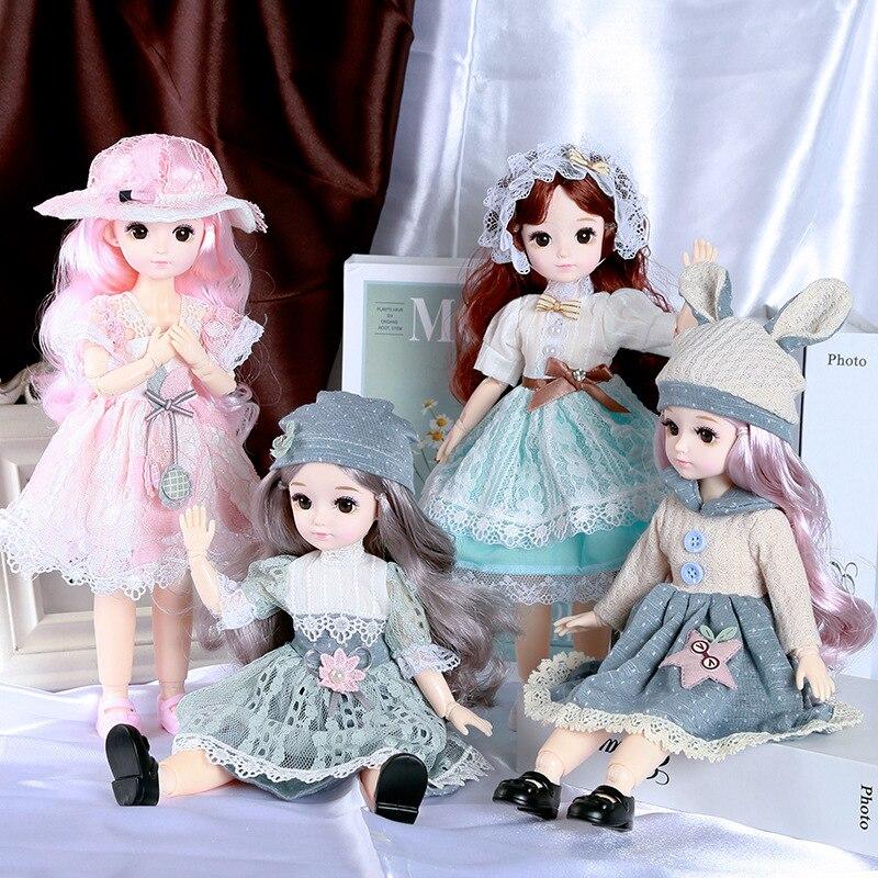 1/6 BJD Puppe 30 Cm Mädchen Geschenk Rosa Lange Haar Make-Up Nette Prinzessin Puppe mit Kleid Kleidung DIY Puppe Mädchen geschenk Spielzeug