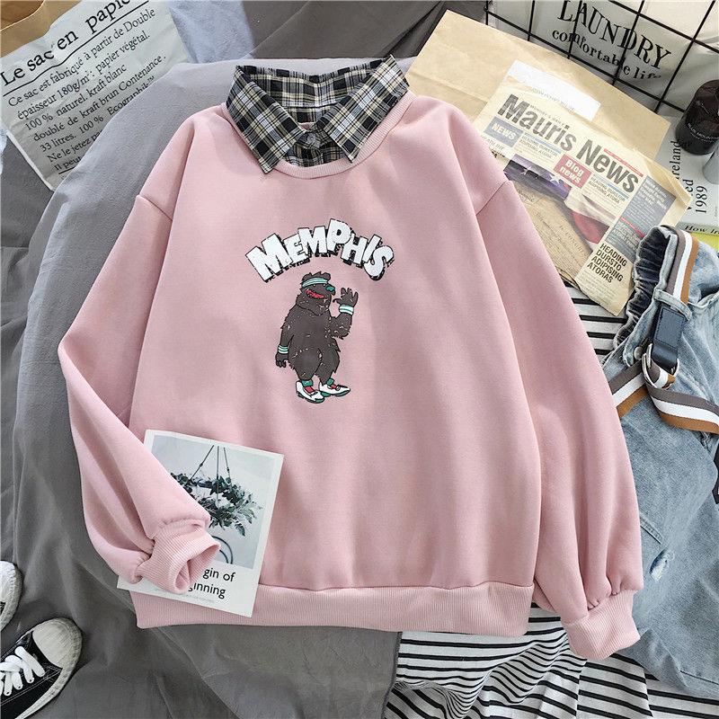 Cute Bear oversized Kawaii women sweatshirt fashion pullovers ladies plus size tops hoodie casual ladies korean style streetwear 15