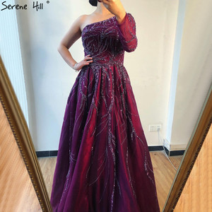 Image 4 - Serene Hill Dubai Design Wine Red A Line Evening Dress One Shoulder Sexy Luxury Formal Party Gown 2020 CLA60988