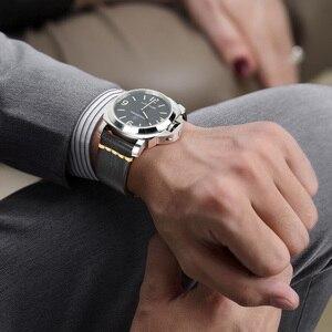 Image 5 - MAIKES ręcznie robiony pasek do zegarków pasek ze skóry bydlęcej Vintage pasek do zegarków ze stali nierdzewnej stalowa klamra do Panerai Omega SEIKO CITIZEN