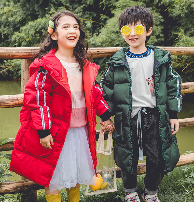 Girls Winter Coat Boys Duck-Jackets Kids Warm And Striped 3-14T 7-Colors New-Arrival