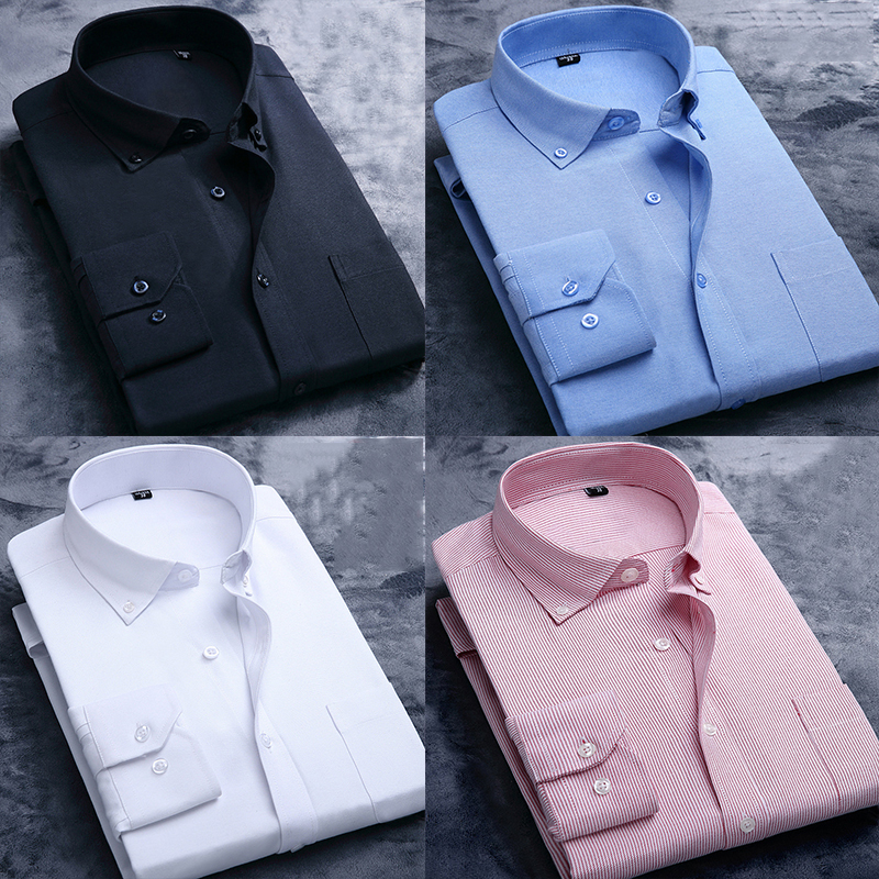 2020 New Oxford Spinning Men's Business Slim Long Sleeve Cotton Shirt Formal Shirt Hot Sale Classic Fashion Trend Solid Color