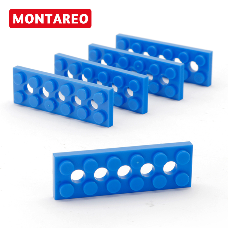 4 X LEGO Technic Plate 2 x 6 with 5 Holes Blue BRAND NEW