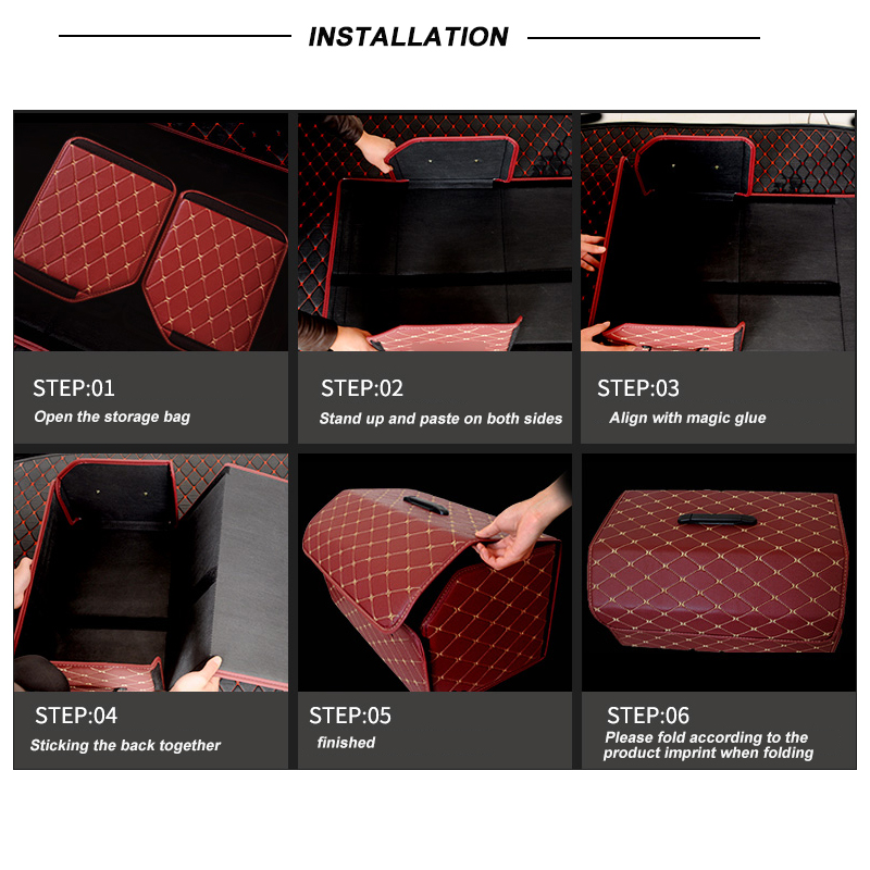 Image 5 - Car Storage Bag PU Leather Trunk Organizer Box Storage Bag Folding Folding Car Trunk Stowing Tidying For Car SUVStowing Tidying   -