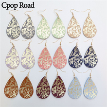 Cpop New Gold Flower Print Genuine Leather Earrings for Women Christmas Water Drop Earring Fashion Jewelry Accessories Gift 2019