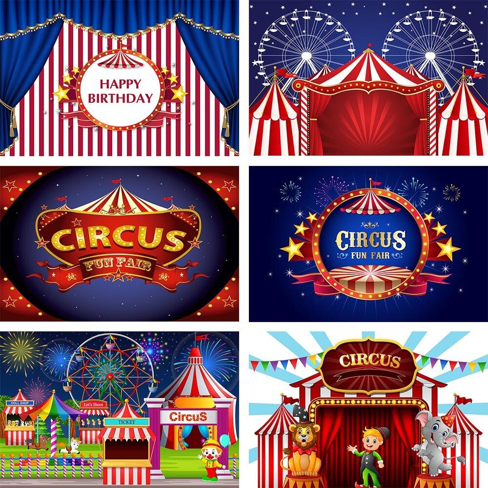 Avezano День рождения фон для фотосъемки цирк Fiesta тема с изображением слона, Льва; Клоуна красный Шторы этап Фоны Декор-баннер