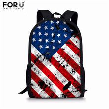 FORUDESIGNS Primary School Bags USA Flag Prints Girls Kids Backpack Boys Student Elementary Schoolbags National Flags Book