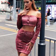 InstaHot Velvet Two Piece Sets Off the Shoulder Crop Top And Short Skirt Women Long Sleeve Autumn Winter Outfit Elegant Sets rose off the shoulder long flared sleevess crop top