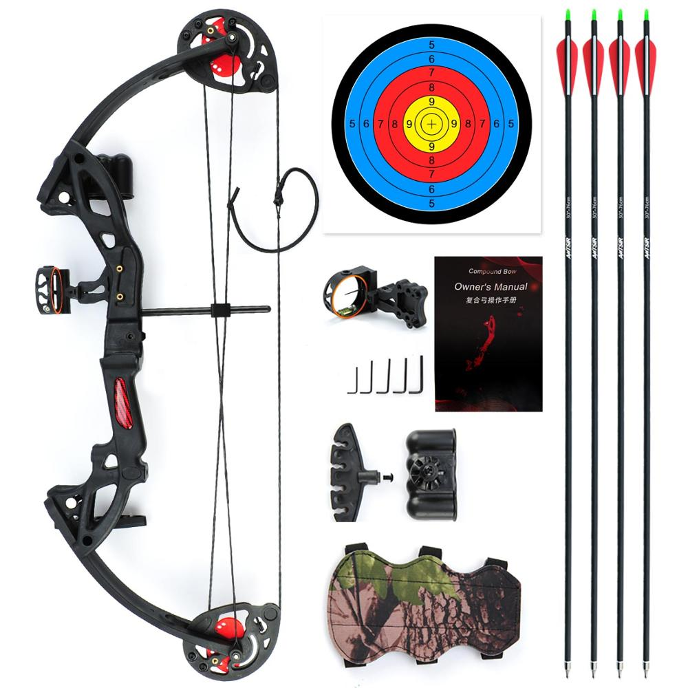 """Compound Bow For Teens And Kids,Adjustable Twin Cam 15-29lbs 19""""-28"""" Archery Hunting Equipment 65% Let Off With Max Speed 260fps"""