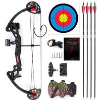 Compound Bow for Teens and Kids,Adjustable Twin Cam 15 29lbs 19 28 Archery Hunting Equipment 65% Let Off with Max Speed 260fps