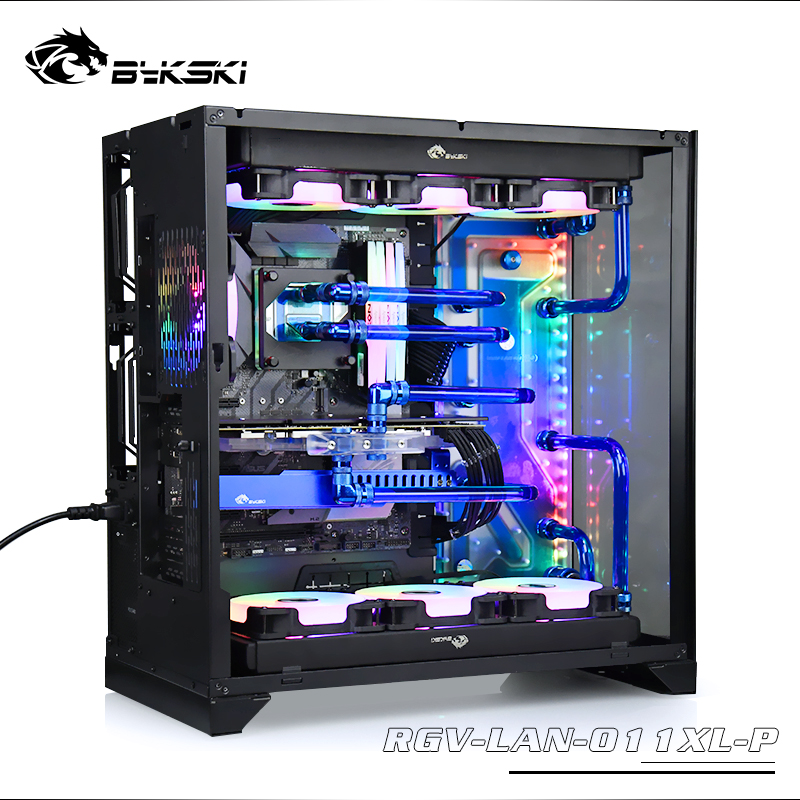 BYKSKI Acrylic Board Water Channel Kit Solution for LIAN LI O11 Dynamic XL Computer Case for CPU/GPU Block Support DDC Pump RGB image