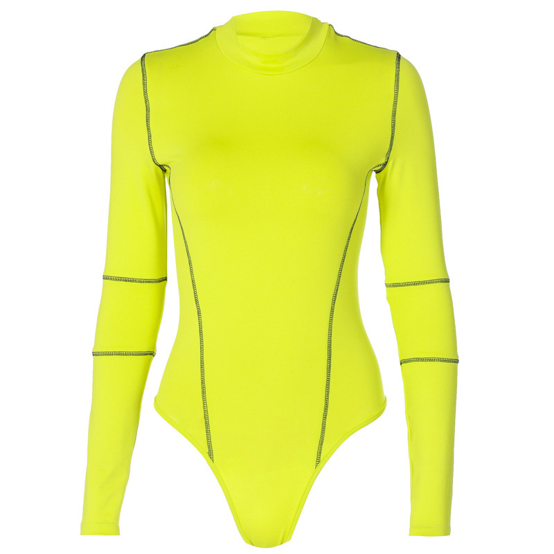 Shestyle Seamless Sexy Mock Neck Bodysuits Women High Waist Long Sleeve Green Bodycon Tight Neon Body for Lady Line Rompers