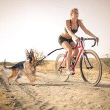 Correia de tração da bicicleta do cão elástico de náilon corda coleira do cão acessório da bicicleta pet caminhada corrida jogging distância keeper mão livre animais de estimação trela