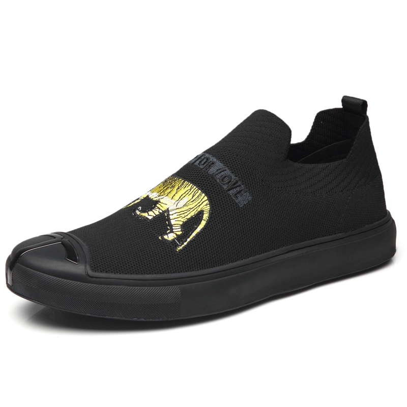 2019 New Men Loafers Flyknit Casual Slip On Male Boat Driving Fashion Sneakers Comfortable Man Black Flat Sneakers Shoes E0111 in Men 39 s Vulcanize Shoes from Shoes