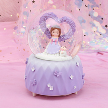 Creative Princess Snow Globe Crystal Ball Rotating Music Box Christmas Decoration For Home Home Decoration Accssories new christmas decorations creative snow music lantern festival scene decoration props glowing glass ball with snow toy speelgoed