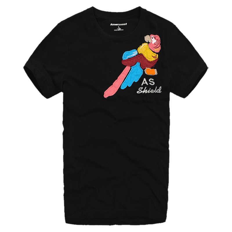 American Coast Quality goods 남성용 패션 클래식 탑스 그래픽으로 라운드 칼라와 짧은 소매가 달린 100% 코튼 티셔츠