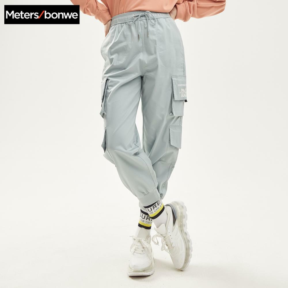 Metersbonwe 2020 New Spring Casual Overalls Pants For Women Trousers Fashion Handsome Student Straight Beam Feet Cargo Pants