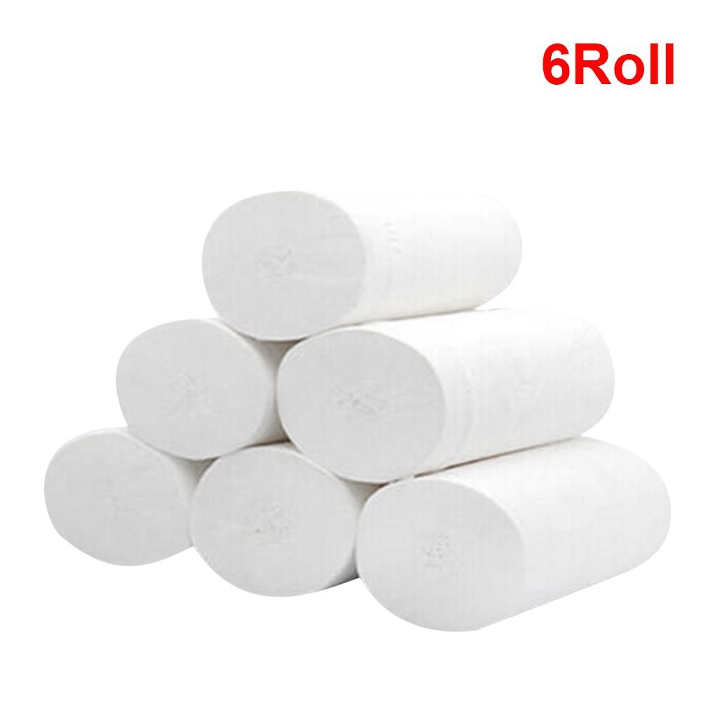 6 Rolls Toilet Tissue Three Layer Toilet Paper Roll Hotel Home Restaurant Bathroom Washroom Soft Tissue Roll Wood Pulp Paper