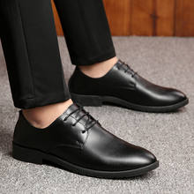 Black Leather Men's Business Shoes Pointed Toe Lace Up Male Flat Dress Shoes England Style Spring and Autumn Mens Formal Shoes(China)
