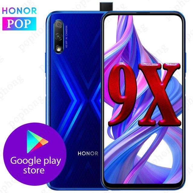 2019ใหม่Honor 9Xโทรศัพท์มือถือ6.5 Fullหน้าจอ6GB 64GB Kirin 810 Octa CoreสนับสนุนGoogleเล่น48MP Pop Upกล้องด้านหน้า16MP