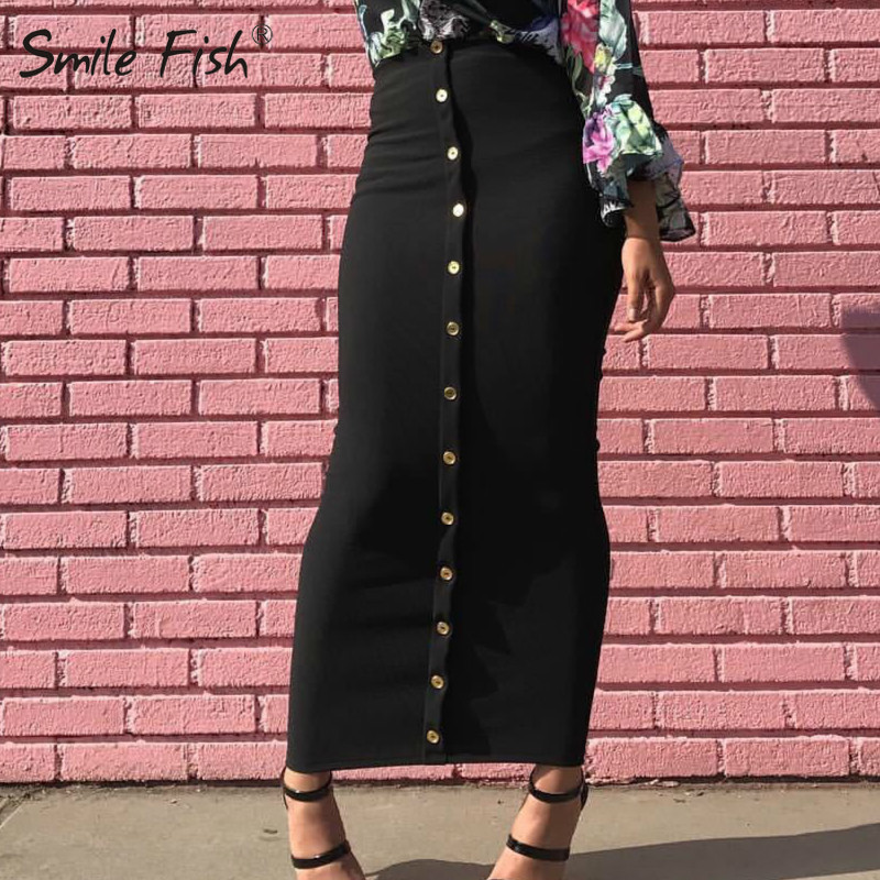Winter Autumn Skirts High Waist Muslim Buttons Bodycon Sheath Long Skirt Women Solid Femme Pencil Skirts Streetwear GV799