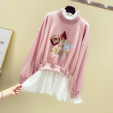 2020 New Korean Loose Long Sleeve Fake Twopiece Stars Hand Beaded Hoodie Girls Students Pull Coat Autumn Winter Women Sweatshirt(China)