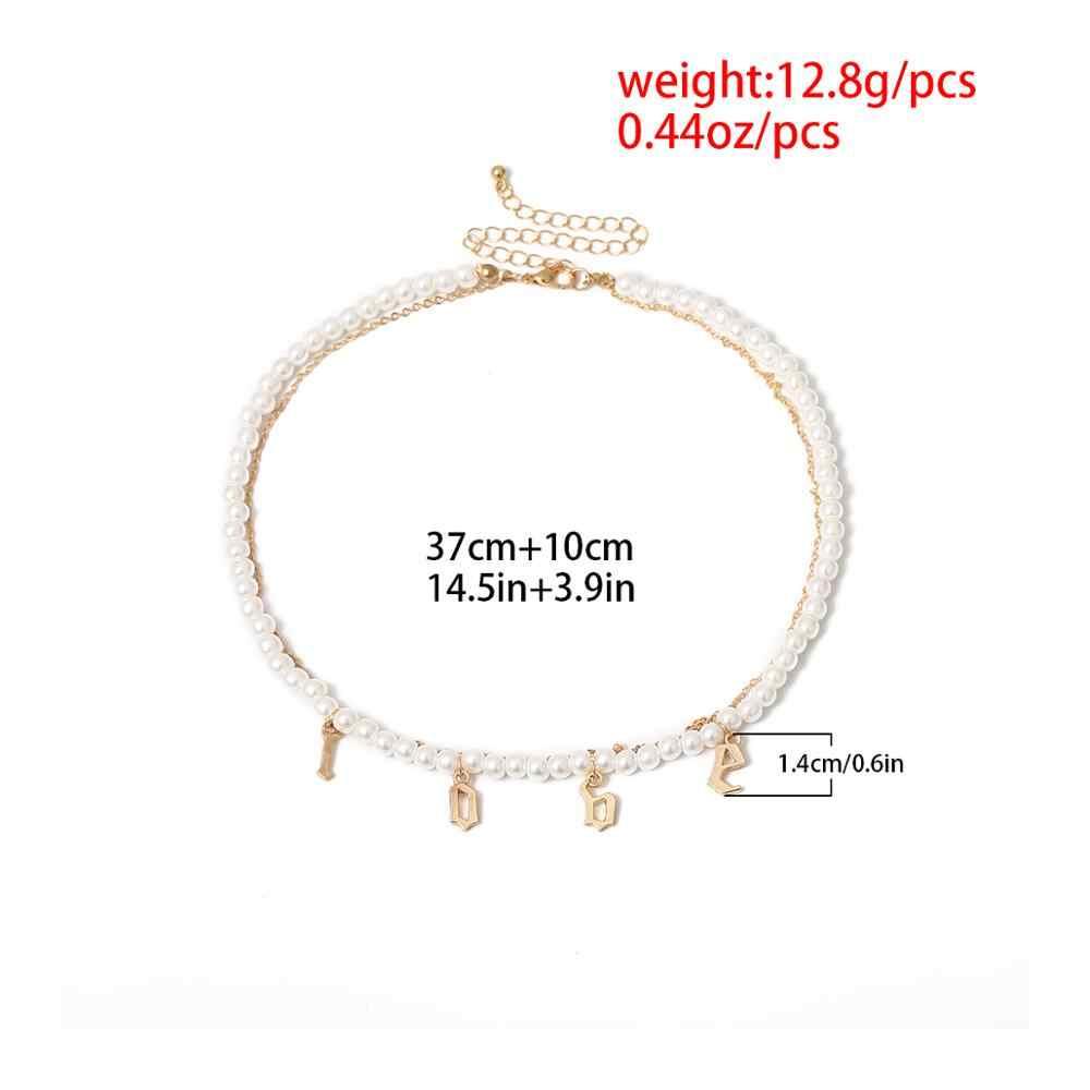 Ingemark Gothic Imitasi Pearl Kalung Kalung untuk Wanita Pernikahan Multi Berlapis Cinta Hati Liontin Rumbai Rantai Kalung Perhiasan