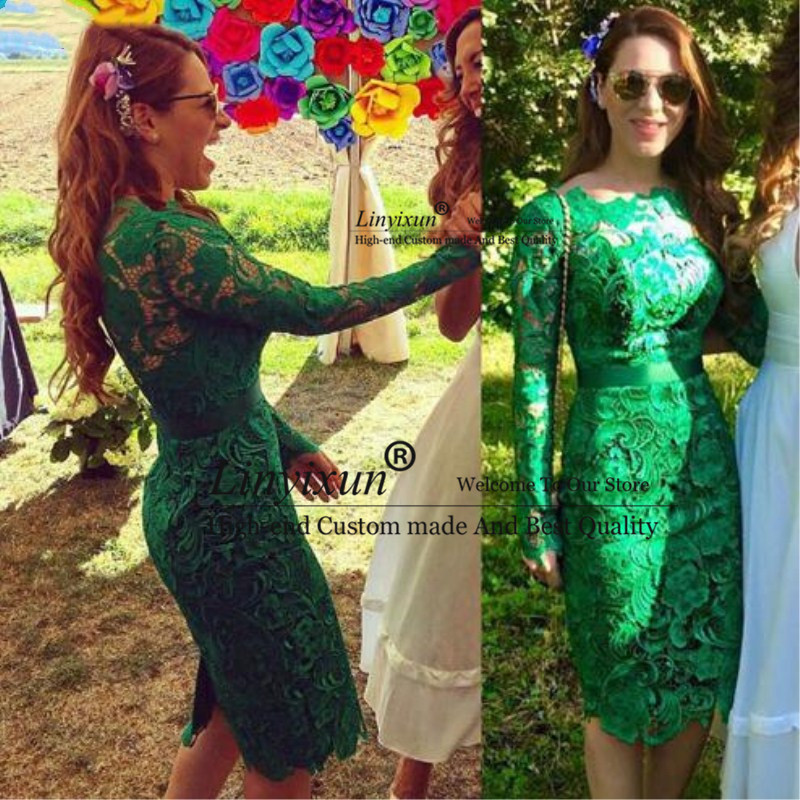 Elegant 2020 Green Cocktail Dress High Neck Knee Length Formal Prom Dress Lace Long Sleeves Short Homecoming Dresses Custom Made