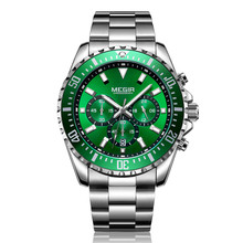 MEGIR Luxury Business Quartz Watch Men Brand Stainless Steel Chronograph Army Military Wrist Watch Clock Relogio Masculino Male curren brand design new 2016 sport steel clock quality steel military man male luxury gift wrist quart business army watch 8056