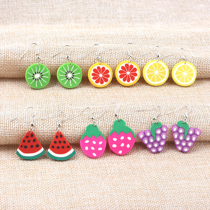 Wholesale 50pcs Cute Fruit Earrings Grape Watermelon Kiwi Strawberry Lemon Orange Drop Earrings for Women Jewelry Gift in Drop Earrings from Jewelry Accessories
