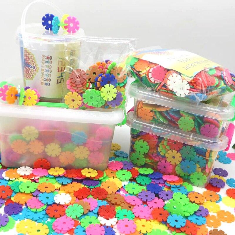 Большие детские строительные блоки со снежинками, пластиковые интеллектуальные вставки для мальчиков и девочек, игрушки для хранения в кор...