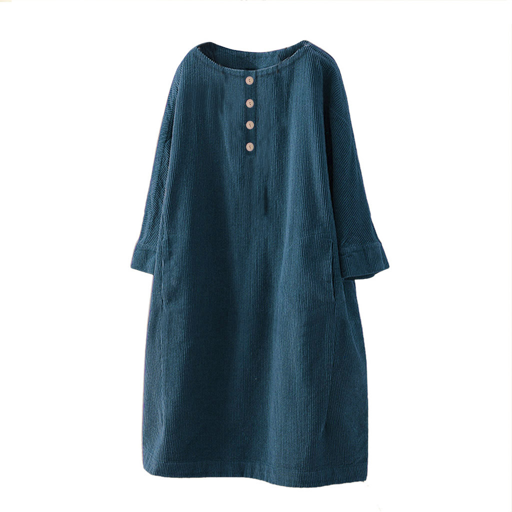 Women s Dresses Vintage Pocket Corduroy Solid Color Button Sleeve Loose Casual Large Size Fashion Hot