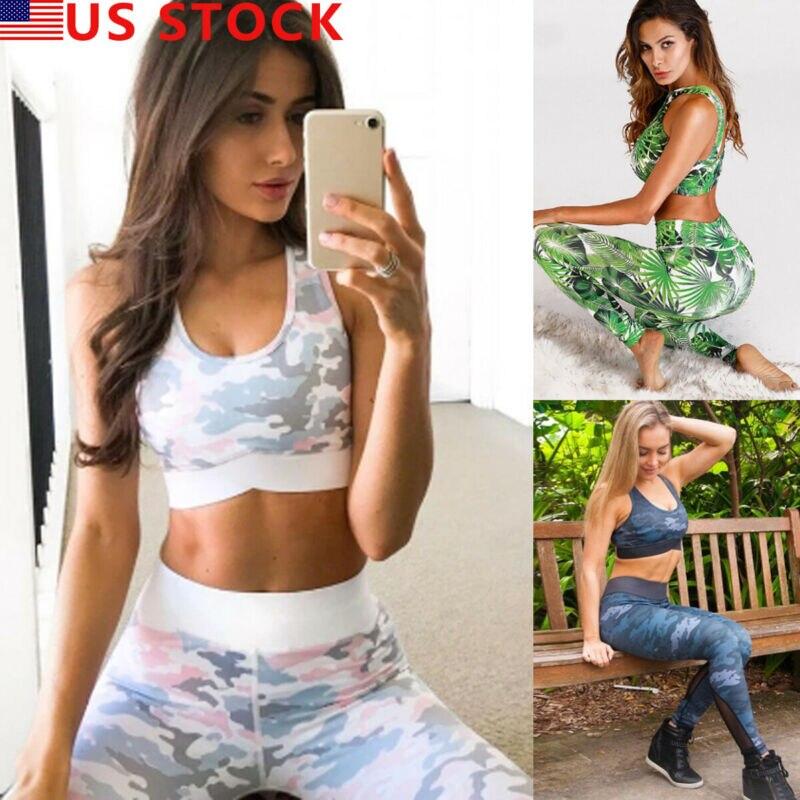 Fashion 2 Piece Set Women Sport Gym Bra Sports Crop Tops Jogging Legging Pants Outfit Wear Two Piece Set S-XL Sportswear 2020