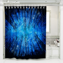 Galaxy Shower Curtains 3D Forest Psychedelic Starry Night Decoration Bathroom Curtain Blue Waterproof Fabric Bath Shower Curtain