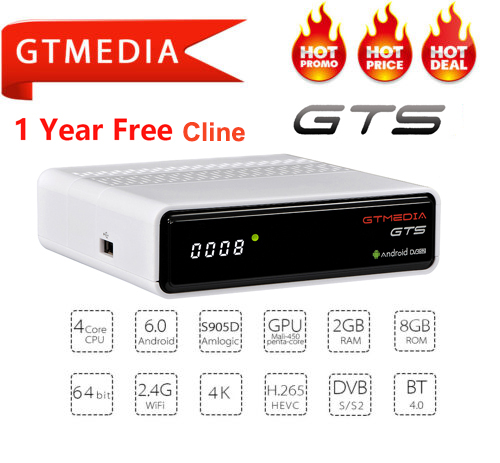 GTmedia GTS <font><b>Android</b></font> 6.0 Smart <font><b>TV</b></font> <font><b>BOX</b></font> Amlogic S905D <font><b>DVB</b></font>-<font><b>S2</b></font> <font><b>Satellite</b></font> <font><b>Receiver</b></font> WIFI 2G/8GB BT4.0 IPTV <font><b>Cccam</b></font> Set top <font><b>box</b></font> Receptor image