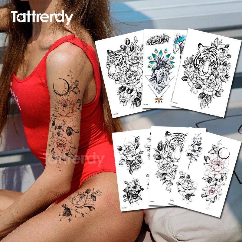 Temporary Tattoo Sticker Flower Sketches Tattoo Designs Waterproof Women Tattoo Arm Sleeves Breast Body Rose Stickers Bikini