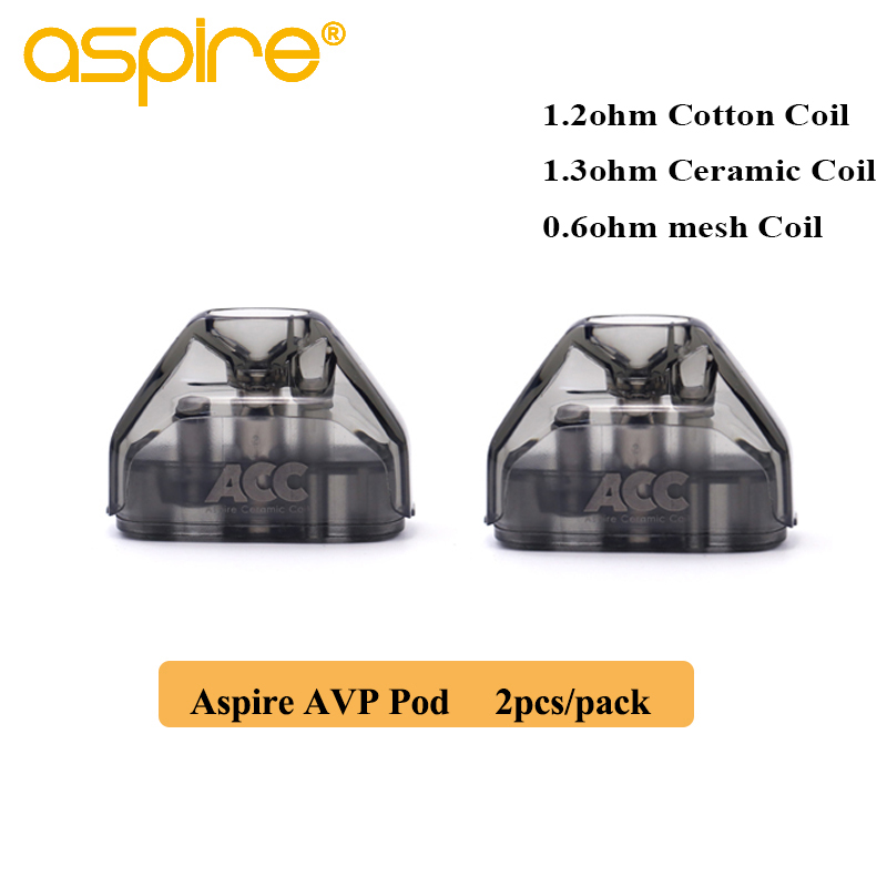 2pcs/pack Aspire AVP Pod 2ml Vape Pod Cartridge With 1.2ohm Cotton/1.3ohm Ceramic/0.6ohm Mesh Coil Electronic Cigarette Atomizer
