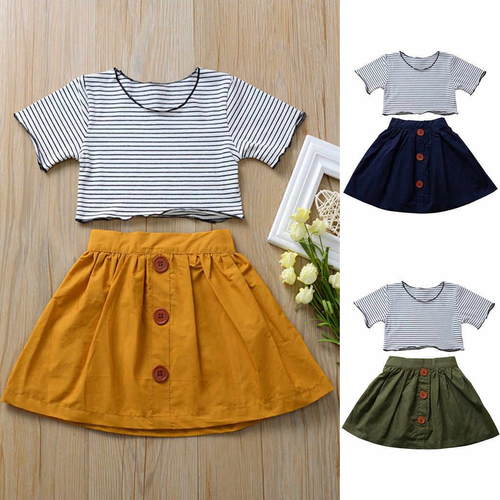 Kinderen Meisjes Zomer Kleding Sets Streep Tshirt Crop Tops Solid Rokken Outfits Peuter Meisjes Sets Roupas Infantis Menina