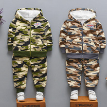 Children Warm Fleece Baby Boys Clothing Sets 2019 Autumn Winter Toddler Long Sleeve 2pcs Clothes Suits Camouflage Tracksuits