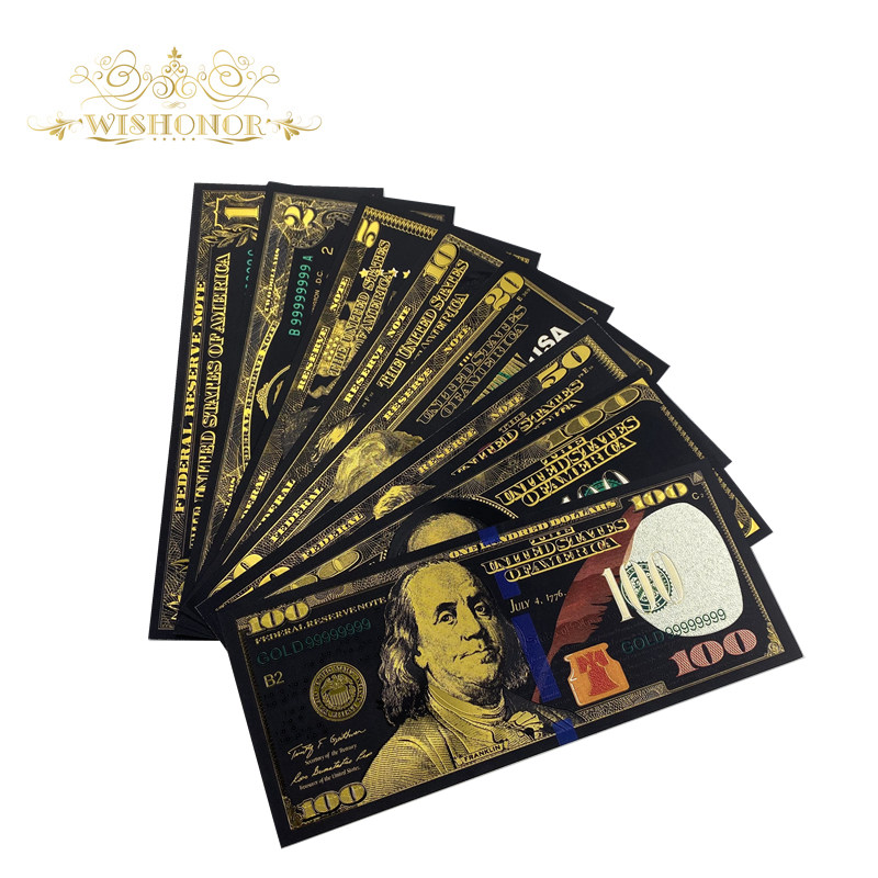 8Pcs/Set USA Banknotes 1 2 5 10 20 50 100 Dollar Bills Bank Note in 24K Gold Plated Fake Currency Money For Gifts Free Shipping