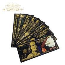 8 шт./компл. США банкноты 1 2 5 10 20 50 100 долларов банкноты в 24K позолоченные поддельные деньги для подарков Бесплатная доставка